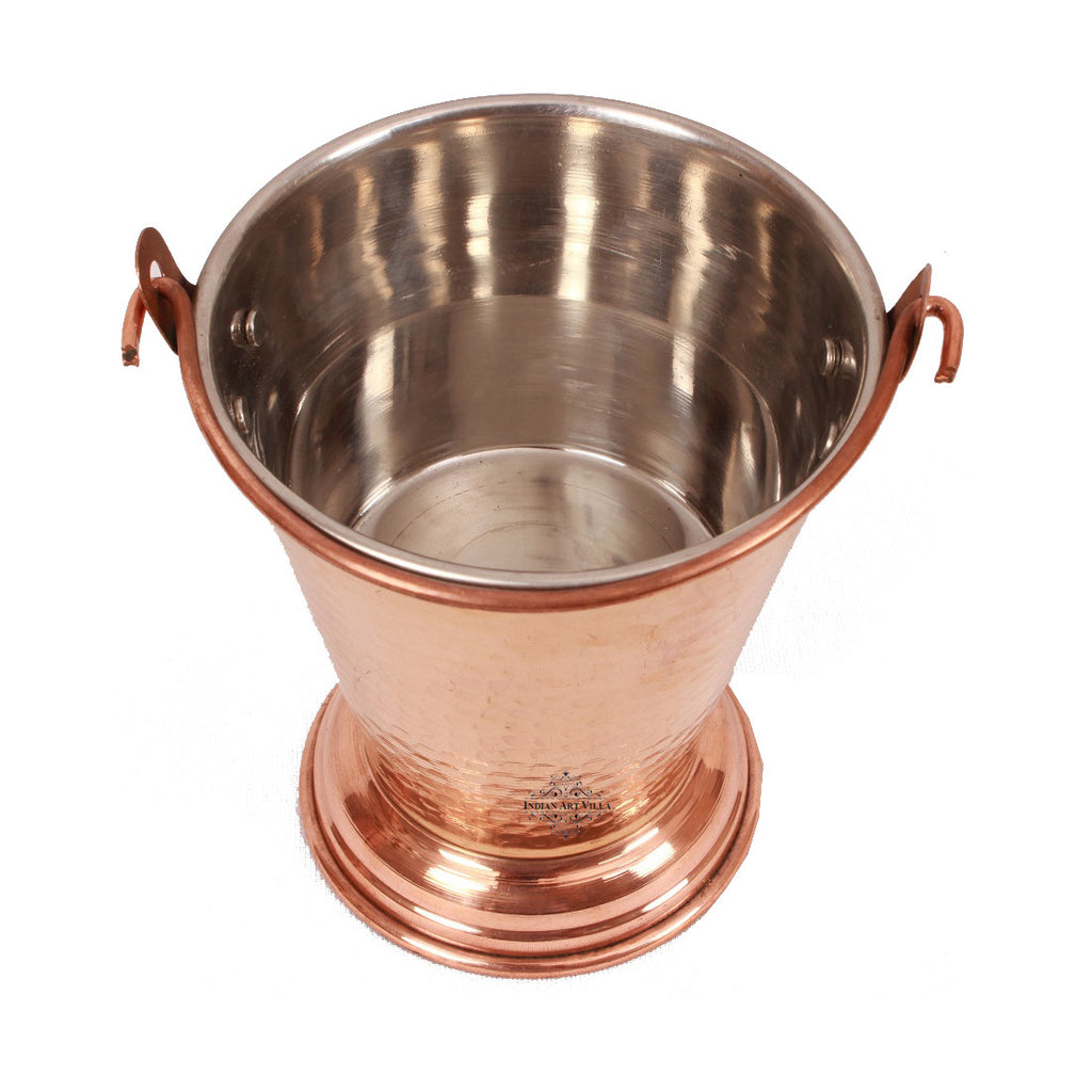 Steel Copper Handi with Kadhai Wok Bowl & Bucket