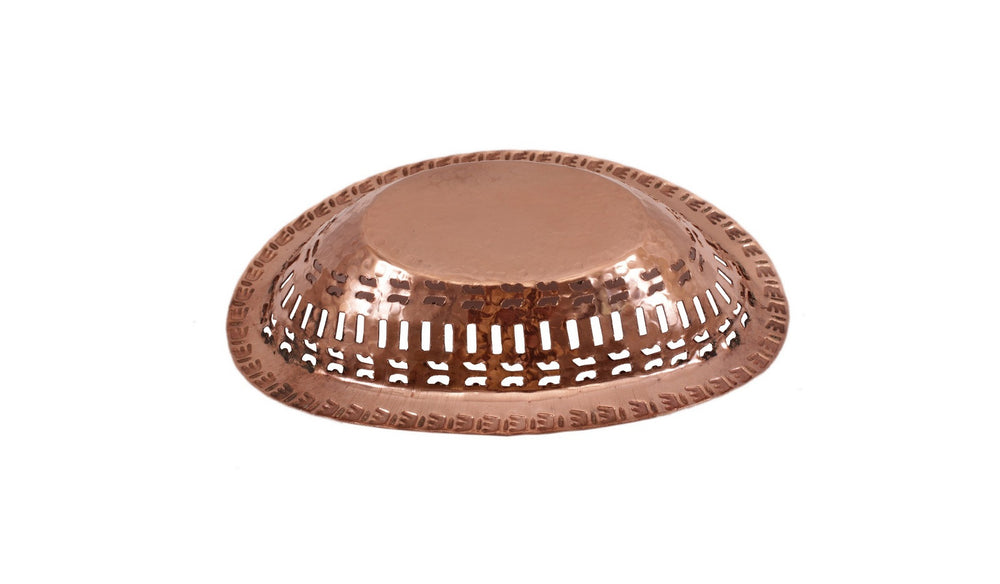 Steel Copper Casserole Donga with Bread Basket