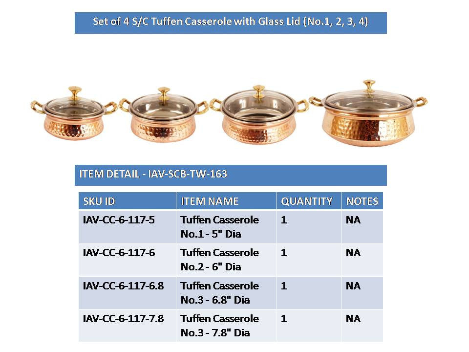 Steel Copper Set of 4 Casserole Donga with Glass Lid
