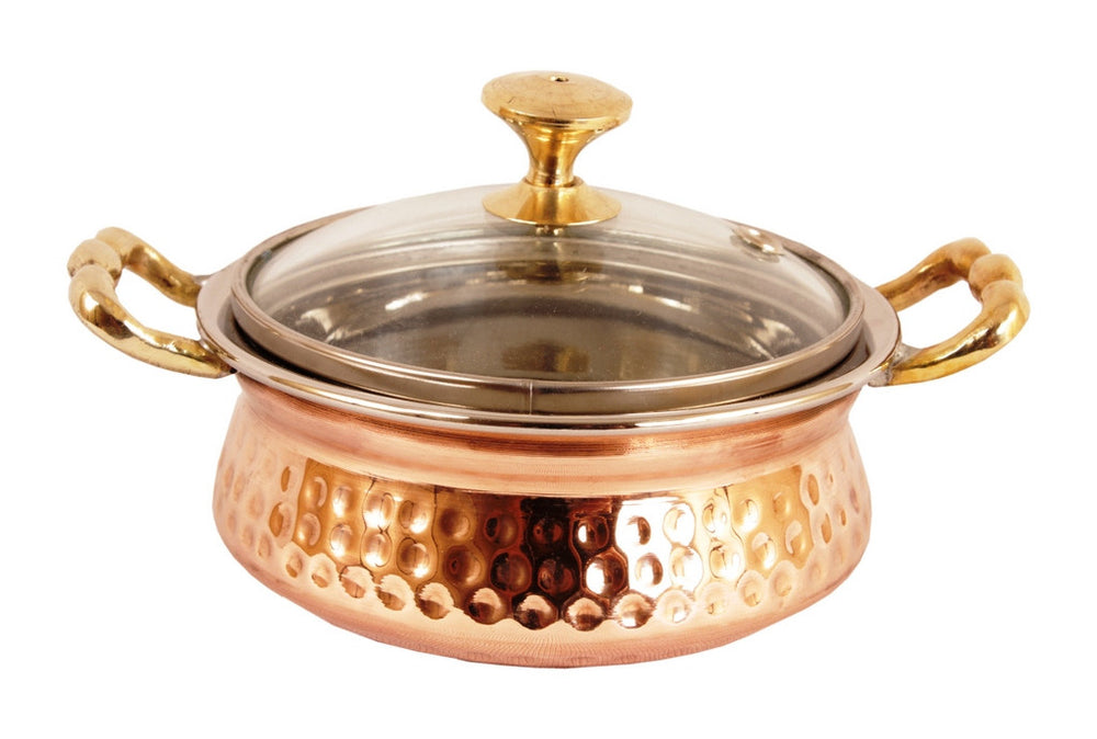Steel Copper Set of 3 Casserole Donga with Glass Lid