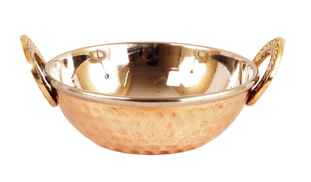 Steel Copper Donga with Lid|Handi|Kadai|Tawa Serving Set