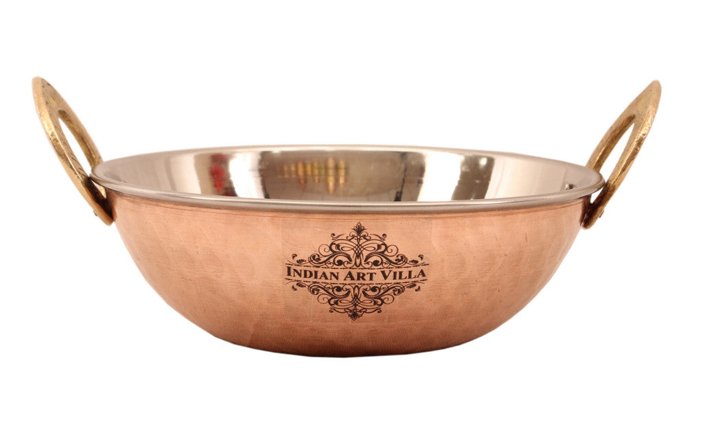 Steel Copper Designer kadai Wok with Spoon