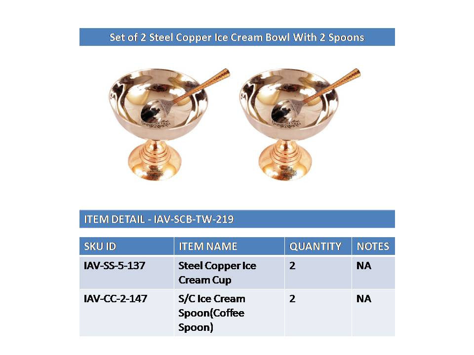 Steel Copper Set of 2 Ice Cream Bowl With 2 Spoons