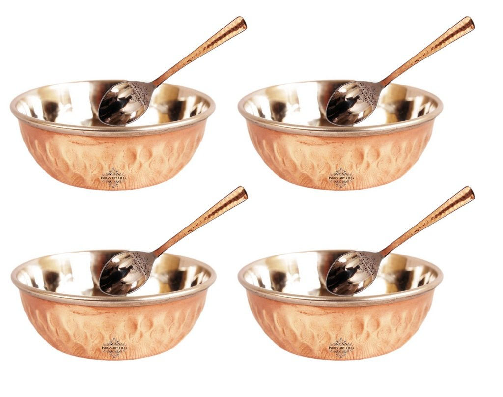 Steel Copper Set of 4 Omega Bowl with 4 Spoon 100 ML