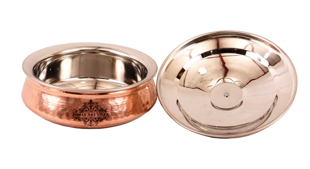 Steel Copper Set of 2 Serving Handi with Lid