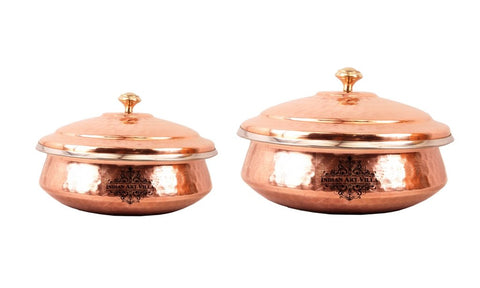 Steel Copper Handi with Lid Serving, , Used as Serveware & Tableware, Set of 2