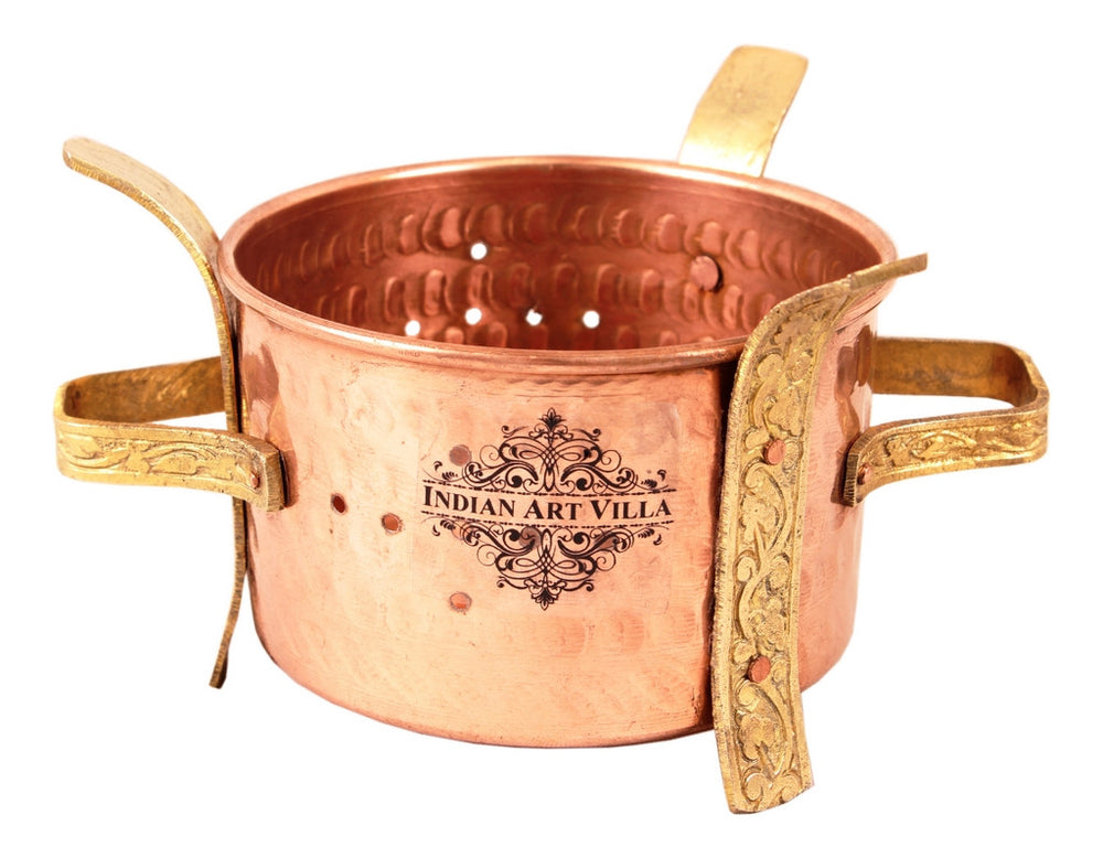 Copper Sigri with Brass Stand & Steel Copper Kadai & Spoon