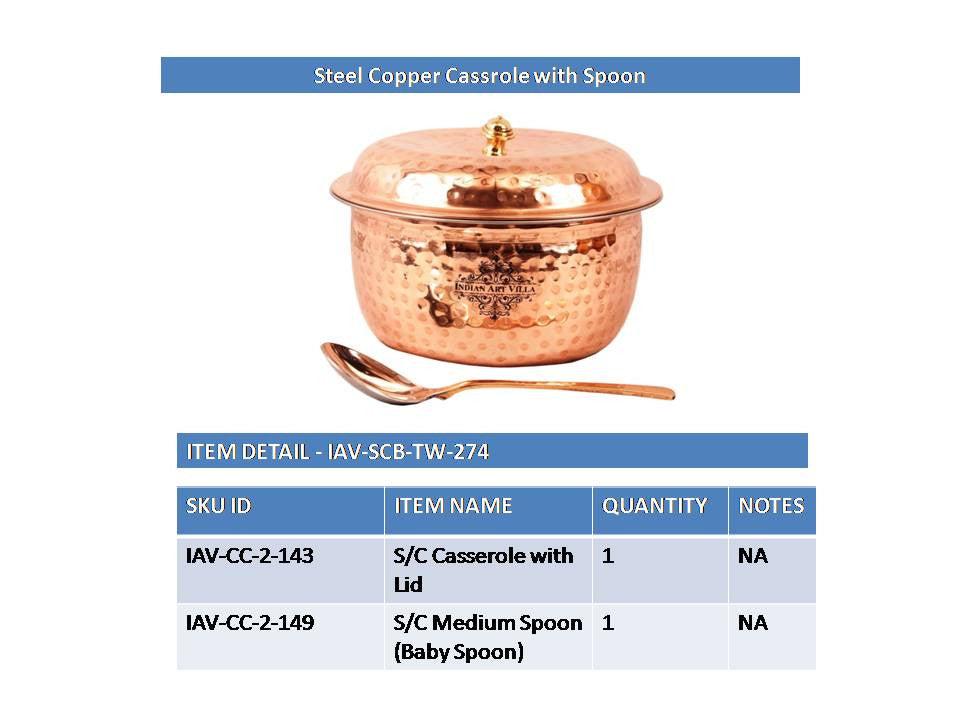 Steel Copper Hammered Design Casserole Donga with Lid