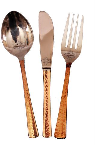 Steel Copper Cutlery Set (Spoon , Fork , Knife), Tableware Set, 3 Pieces