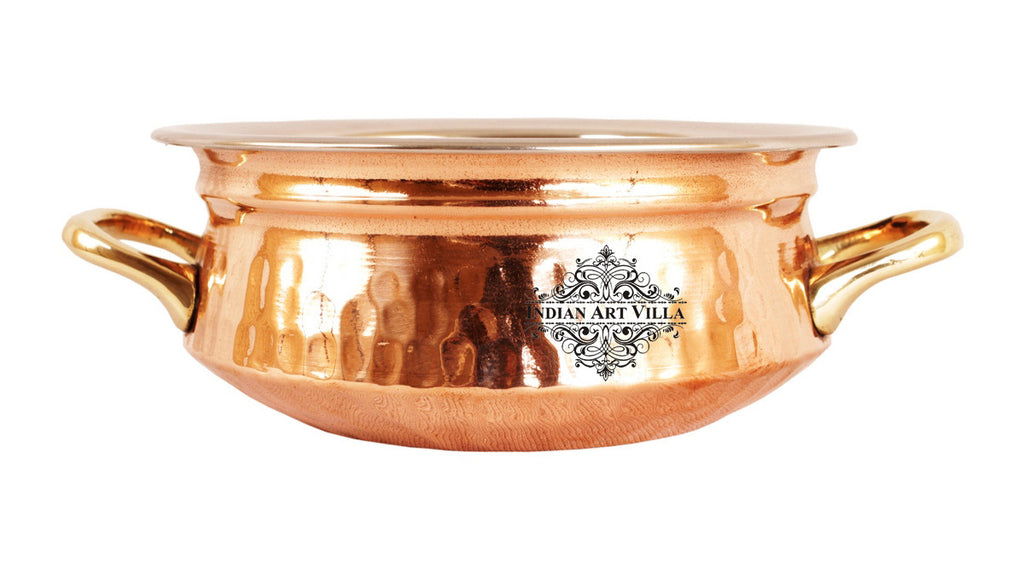 Steel Copper Handi with Kadai Wok Bowl & Bucket
