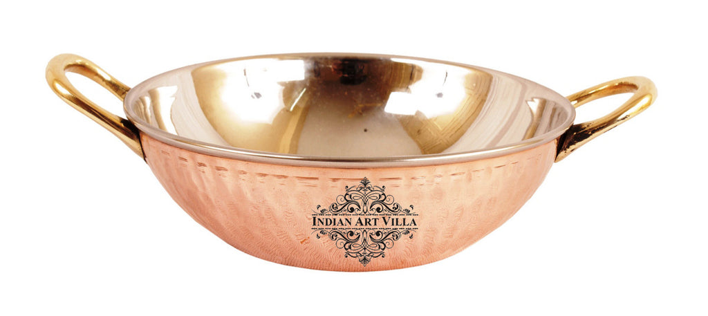 Steel Copper Handi with Kadai & Casserole with Glass Lid