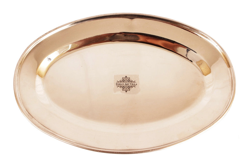 Steel Copper Set Of 1 Oval Plate |1 Platter| 1 Entrée Bowl