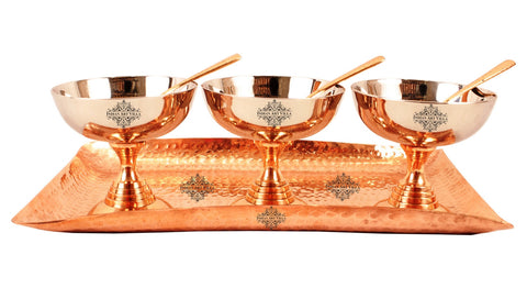 Steel Copper Desert Bowl with Spoons & Hammered Rectangular Tray Platter, For serving Desset & Ice Cream, 7 Pieces, Service for 3