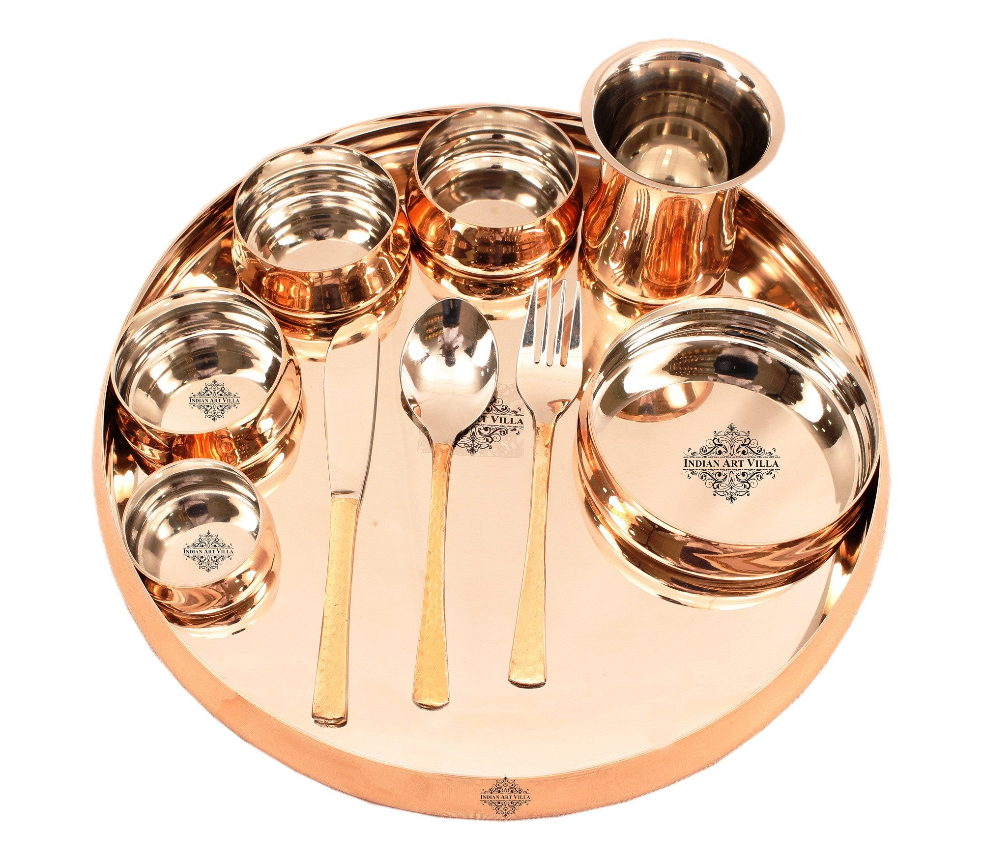 Steel Copper 10 Piece Curved Dinner Set