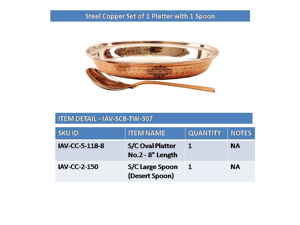 Steel Copper Serving Platter with 1 Spoon