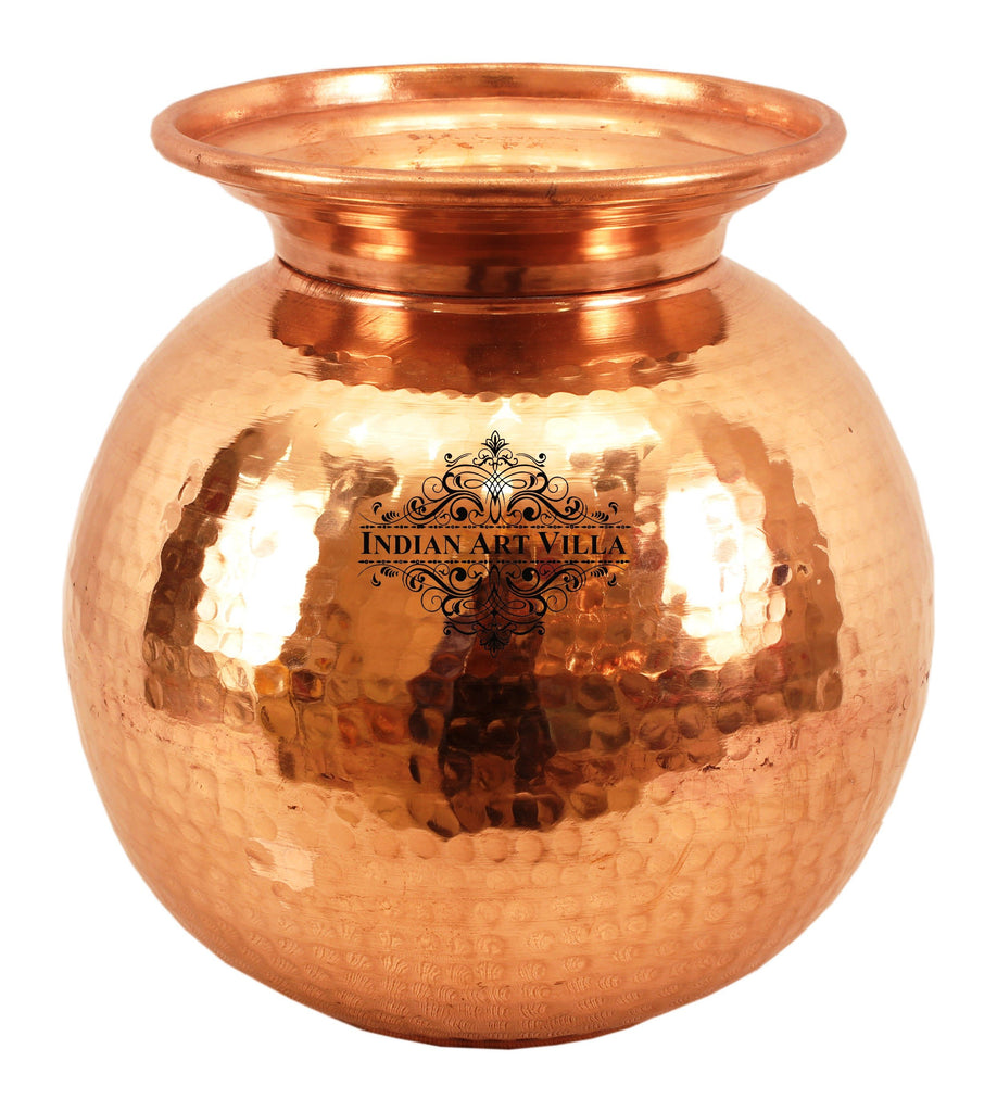 Copper Hammered Design Matka water Pot Container