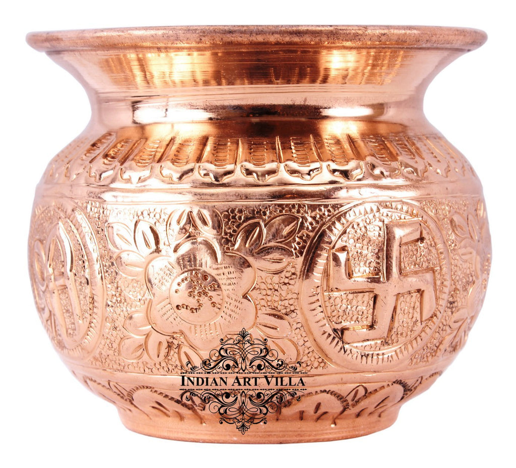 "Copper Swastik Design Round Lota - 3.1"" Inch Height"