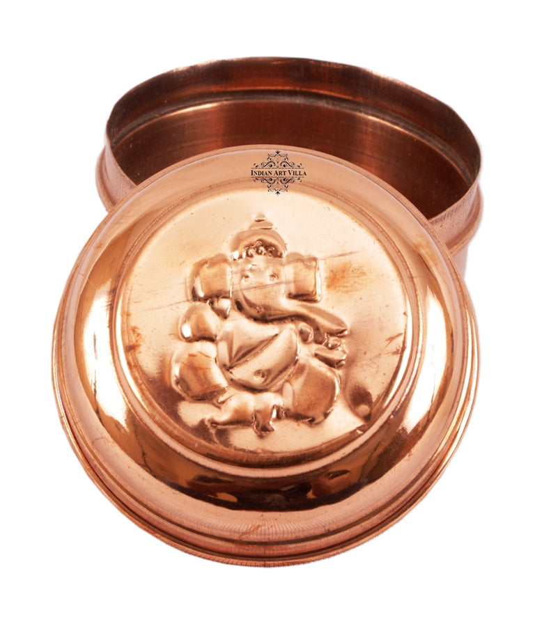 "Copper Ganpati Design Workship Box - 2.7"" Diameter"