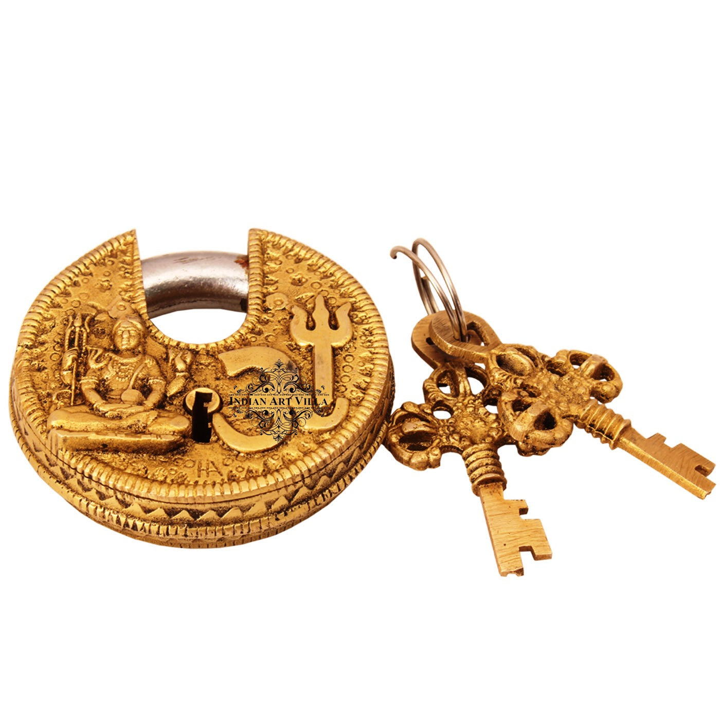 Brass Om Design Round Lock with 2 Keys