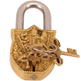 Brass Maa Kali Design Lock with 2 Keys|Security Lock Temple Home Office