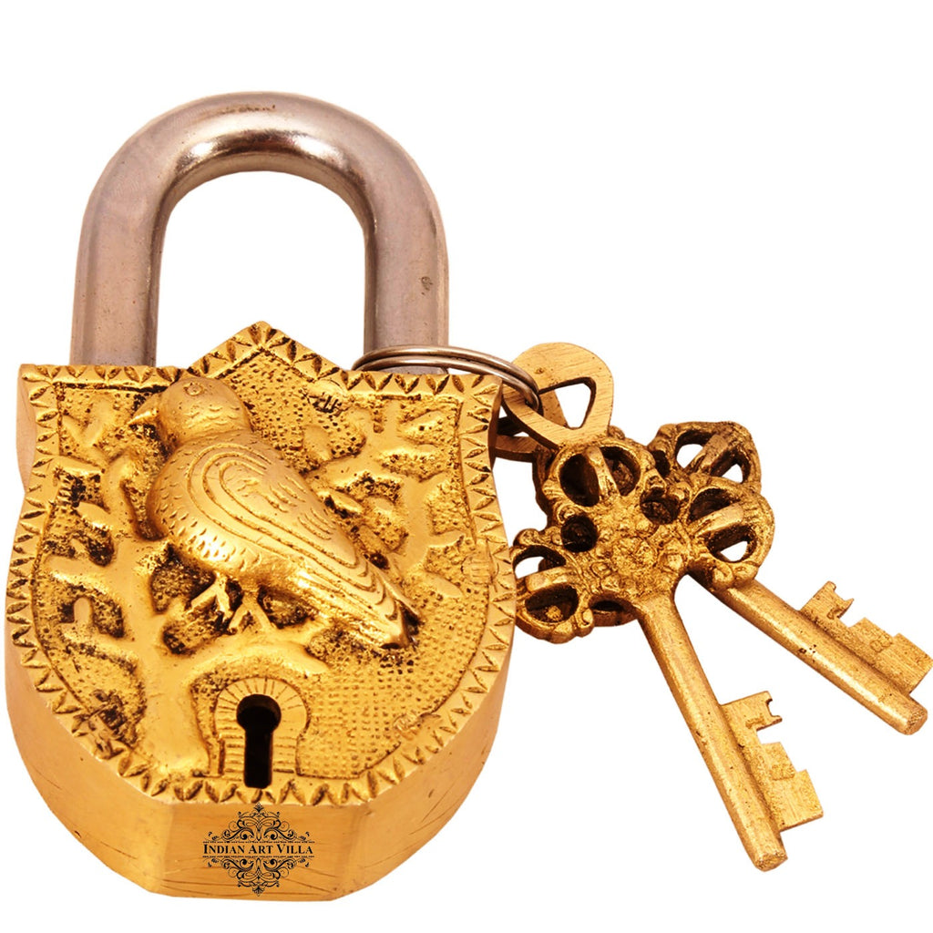 Brass Parrot Design Lock with 2 Keys