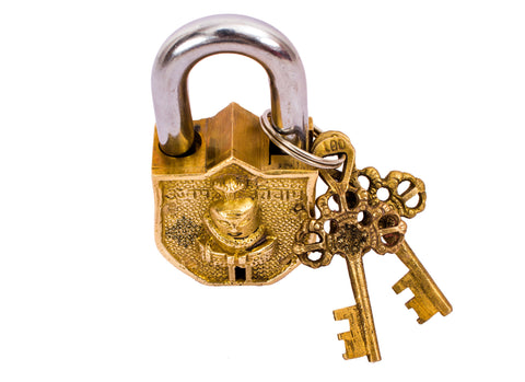 Brass Shivling Design Lock with 2 Keys|Security & Lock Temple Home Office