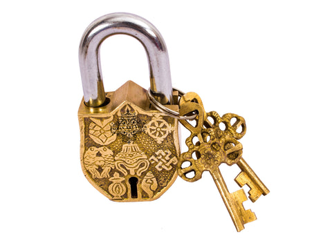 Brass Fengshui Design Lock with 2 Keys | Security & Lock Temple Home Office