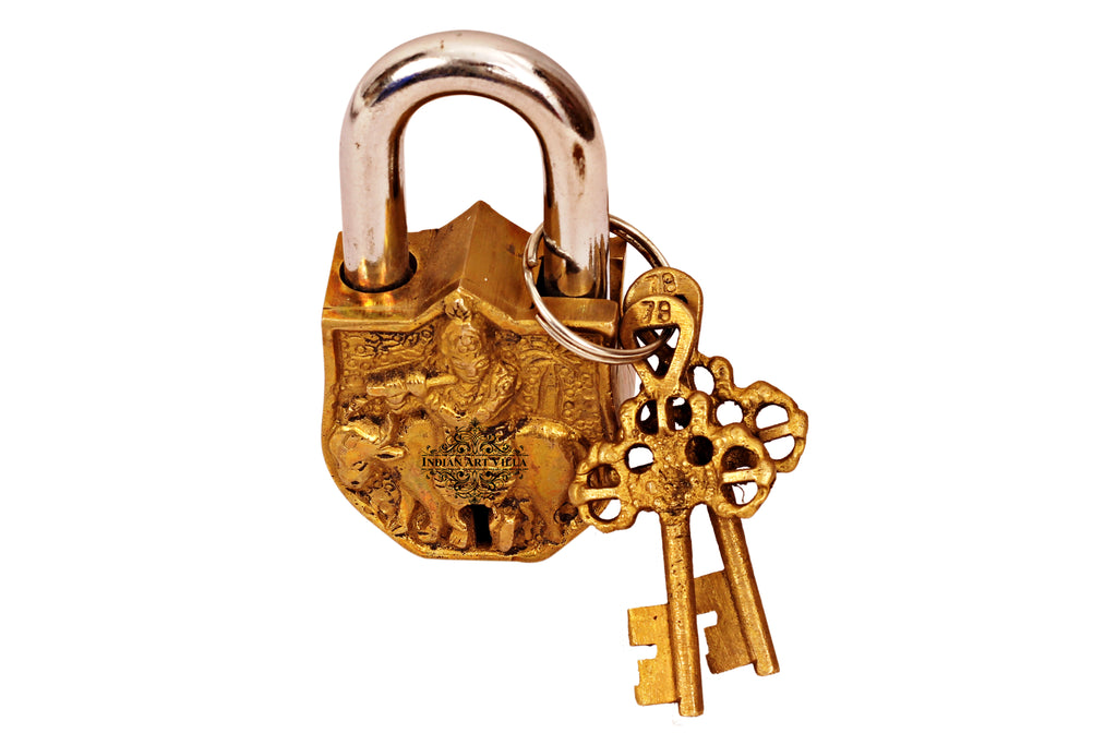Brass Handmade Krishna Ji Design Lock With 2 Keys