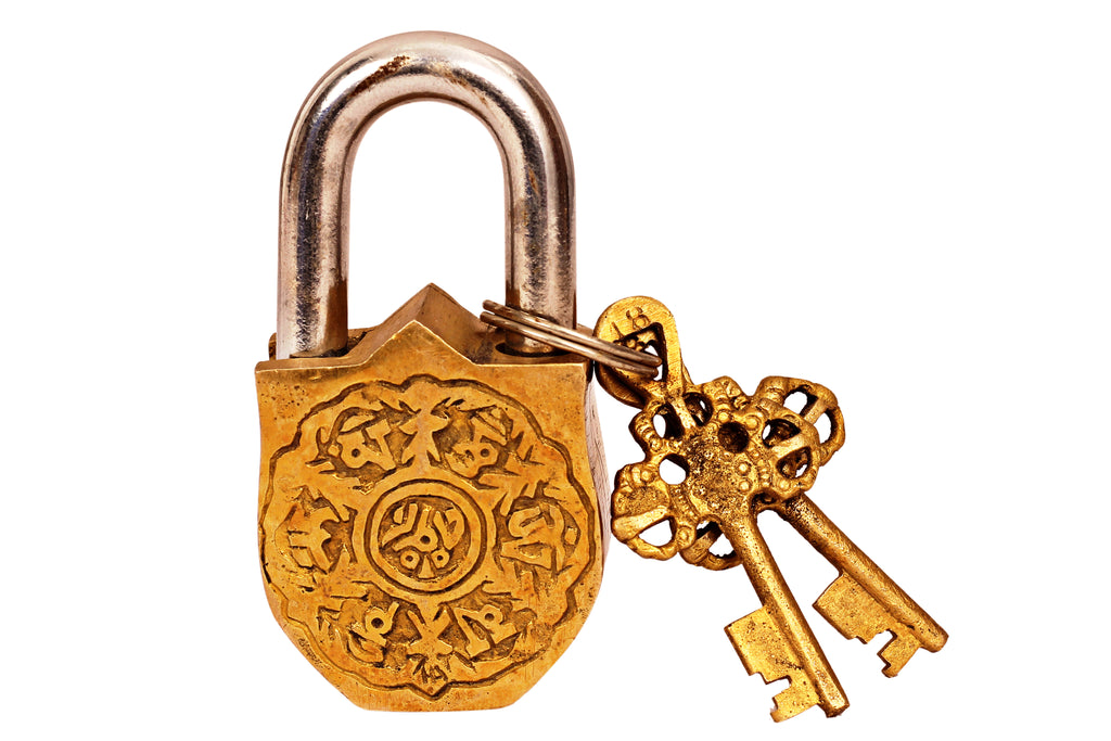 Brass Handmade Sheild & Sword Design Lock With 2 Keys