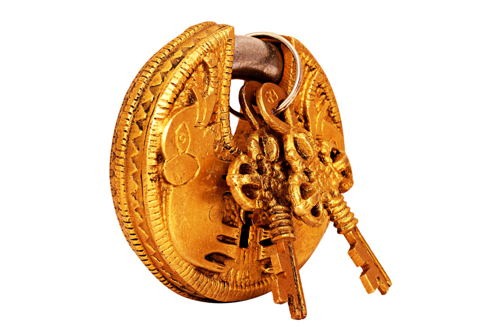 Brass Handmade Elephant Design Round Pad Lock With 2 Keys