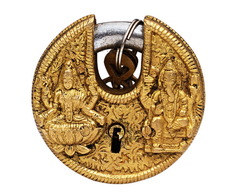 Brass Big Round Ganesh Lakshmi Ji Design Pad Lock With 2 Keys
