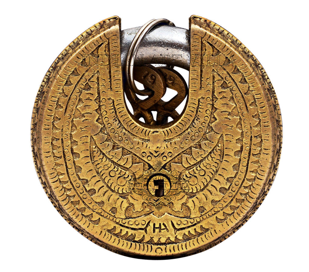 Brass Small Round Ganesh Lakshmi Ji Design Pad Lock With 2 Keys