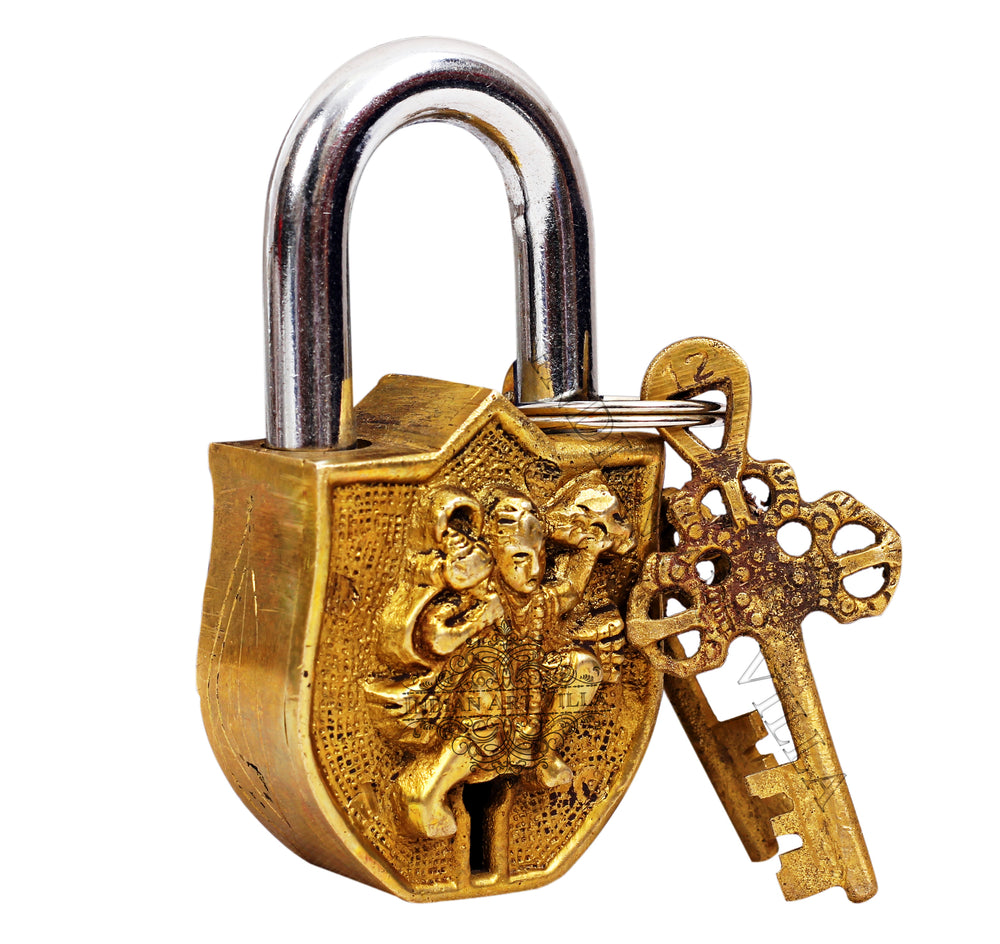 Brass Hanuman Ji Design Pad Lock With 2 Keys