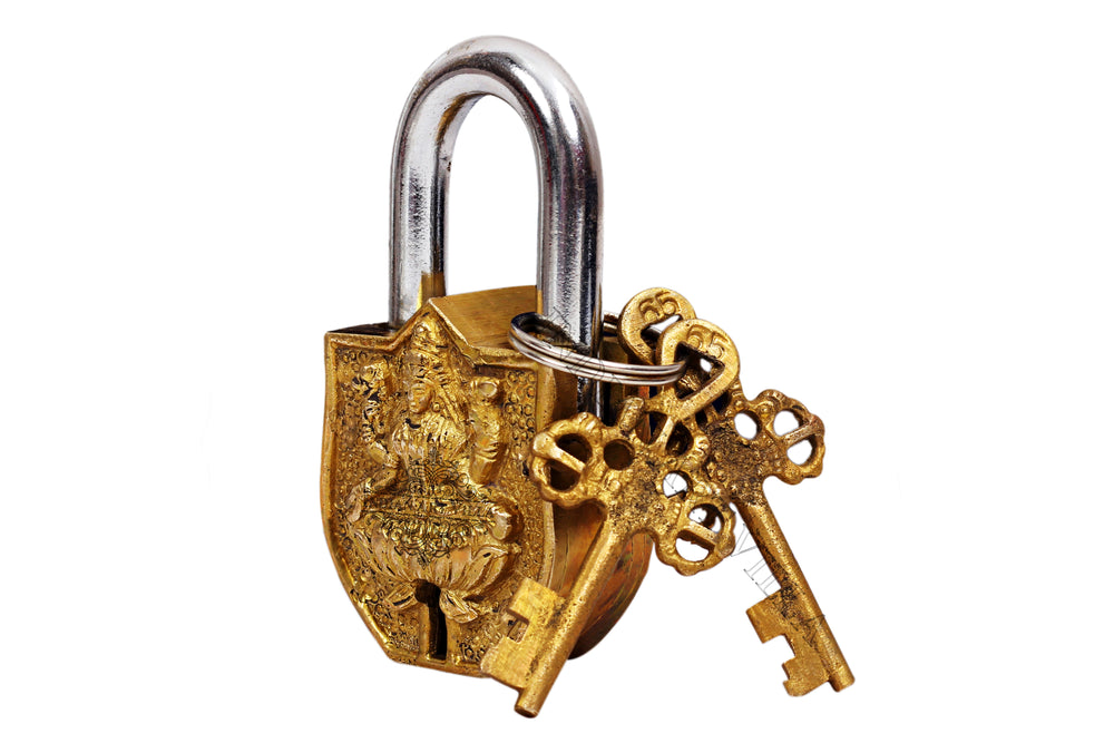 Brass Laxmi Mata Design Lock With 2 Keys