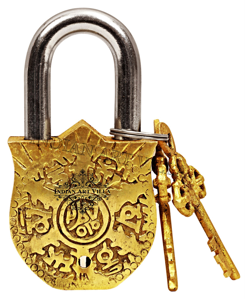 Brass Vastu Fengshui Design Pad Lock with 2 Keys, Door Lock Security