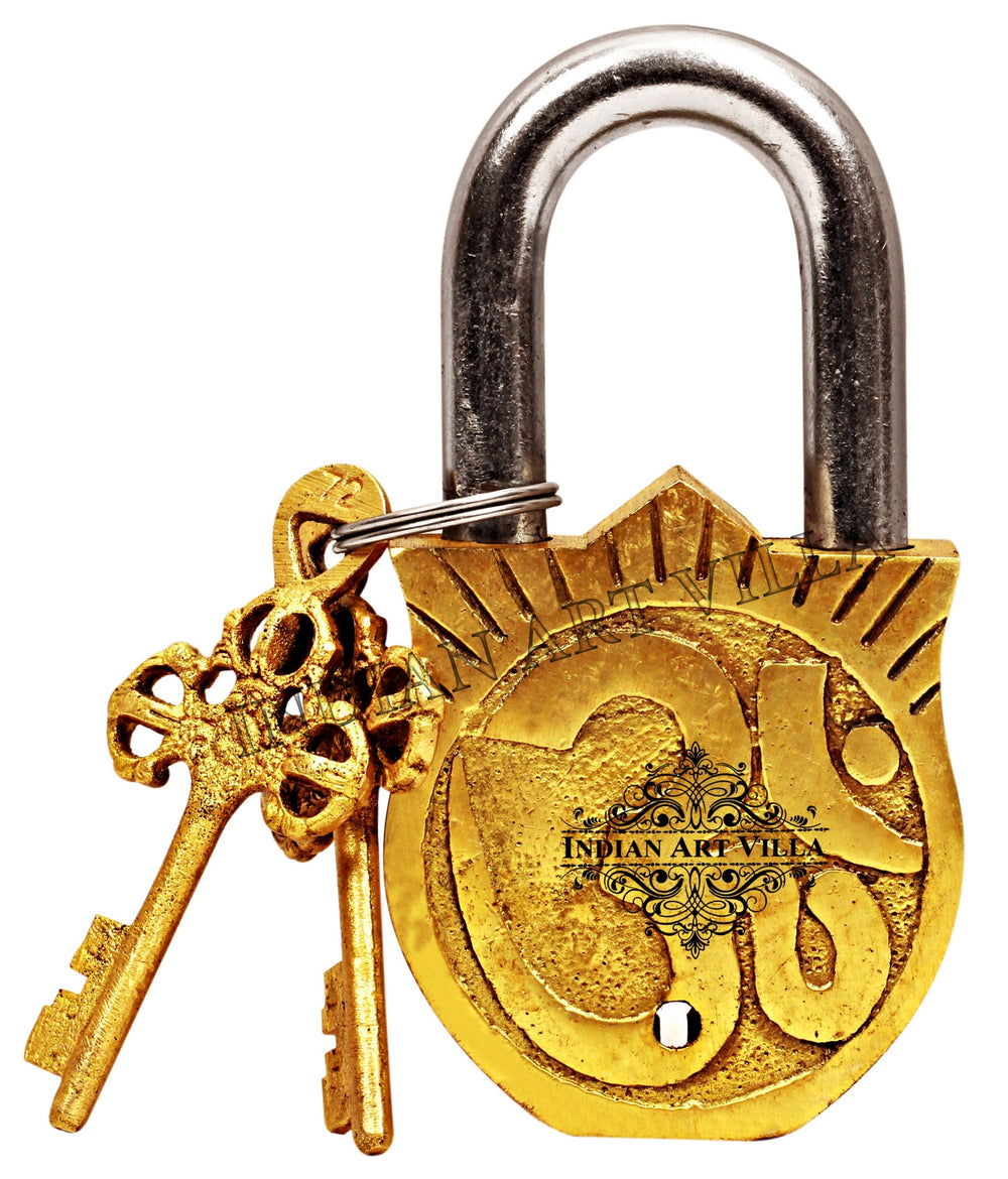 Brass Surya Dev Smiling Sun Design Lock with 2 Keys