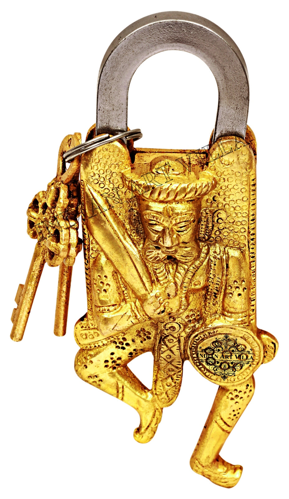 Brass Ancient Warrior Design Lock with 2 Keys
