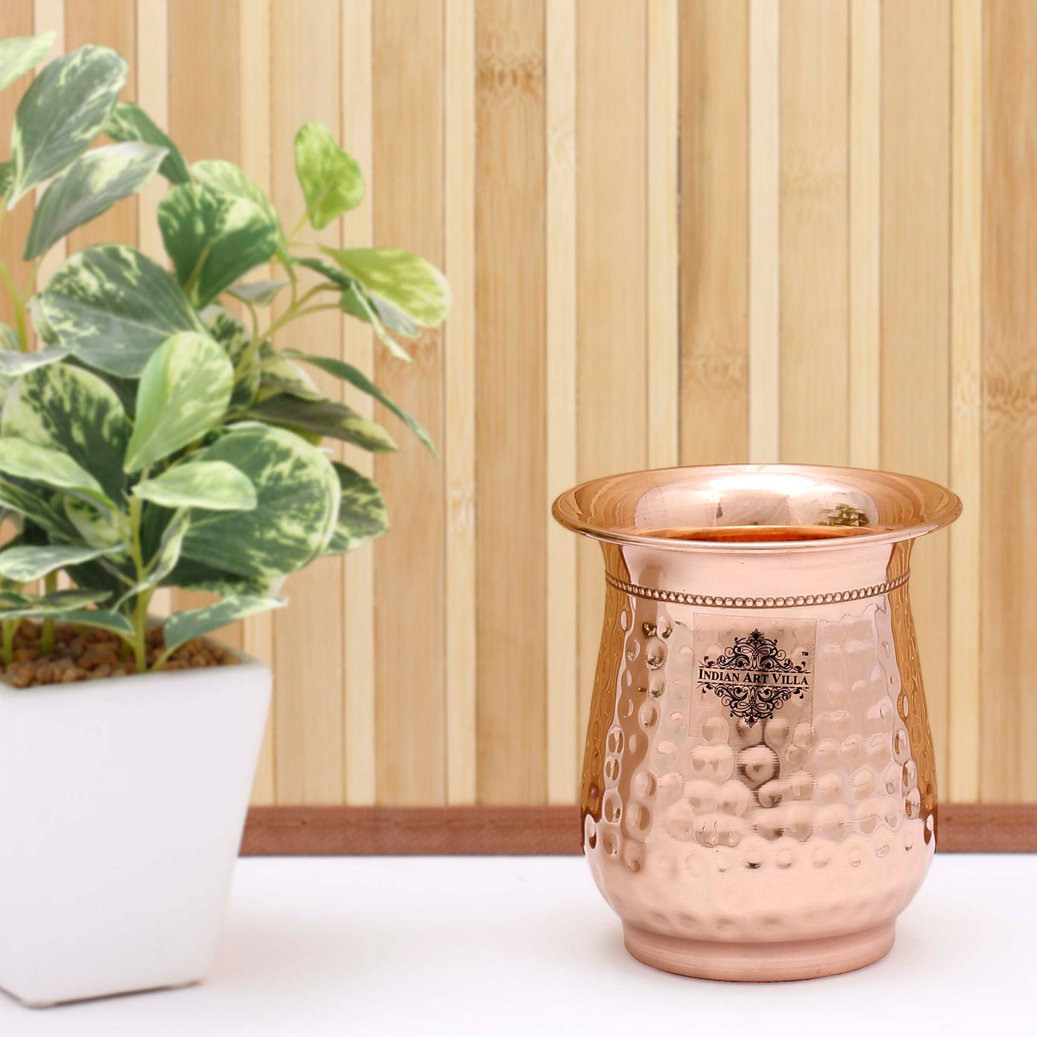 Copper Hammered Design Curved Glass - 400 ML