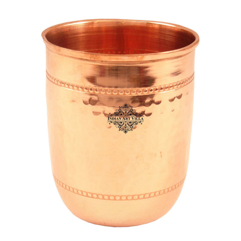 Copper Hammered Glass with 2 Rings - 250 ML