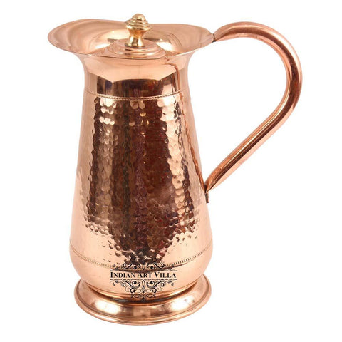 Copper Hammered Mughlai Jug with Lid - 1300 ML