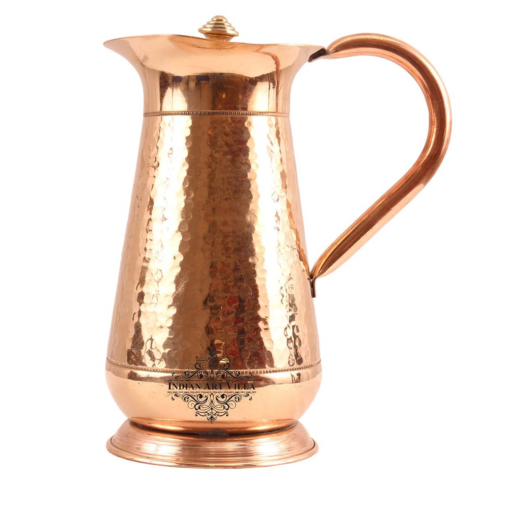 Pure Copper Jug, Hammered Design, Mughlai Pitcher with Lid, Serving water