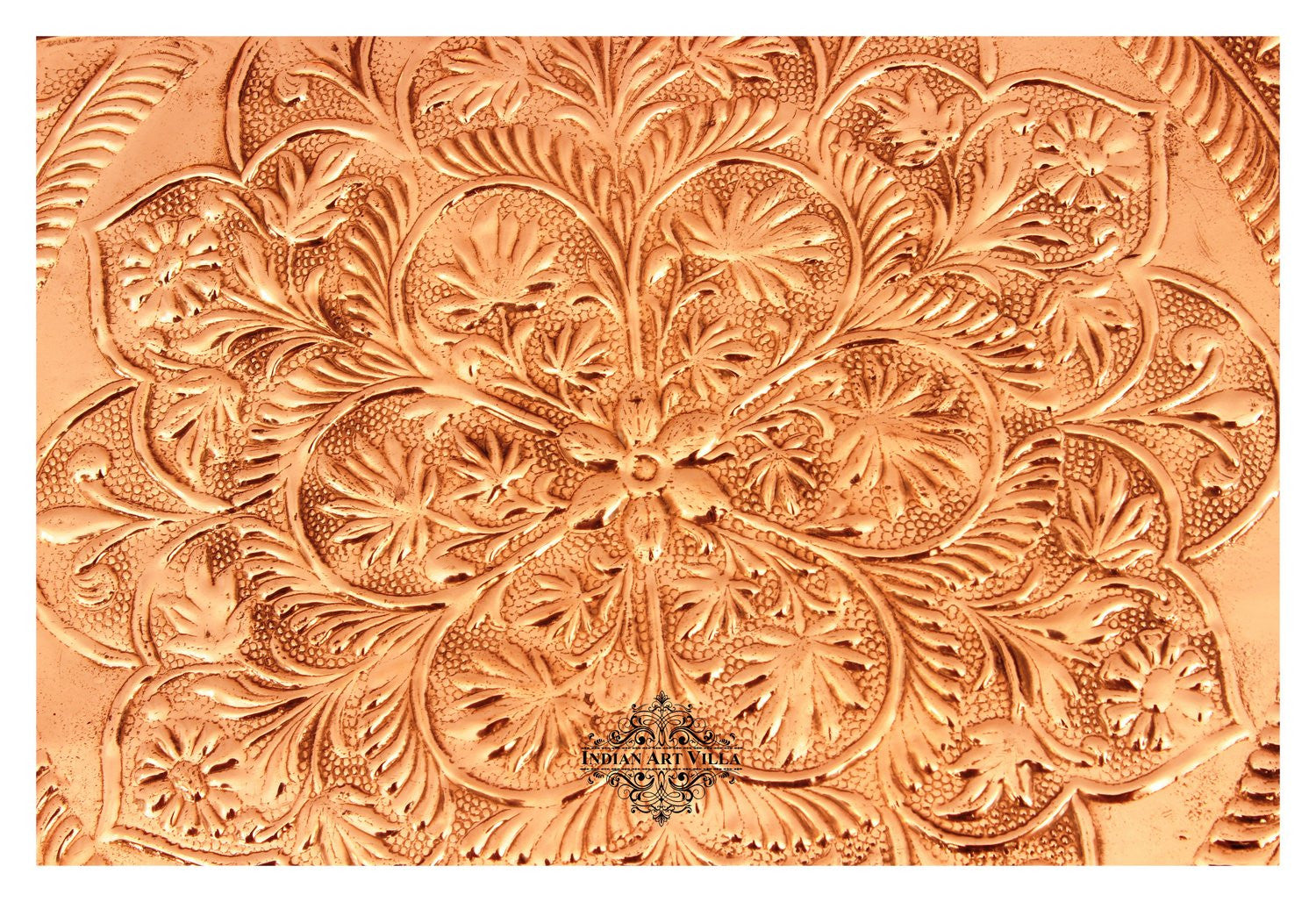 "Copper Engraved Flower Design Tray - 12"" Inch Width"