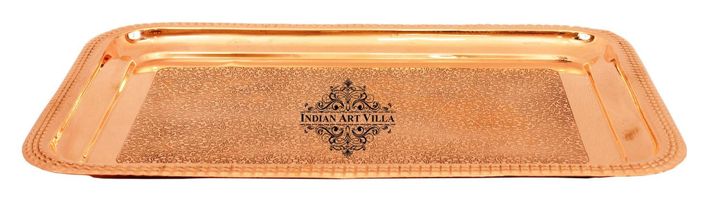 Copper Embossed Design Rectangular Serving Tray