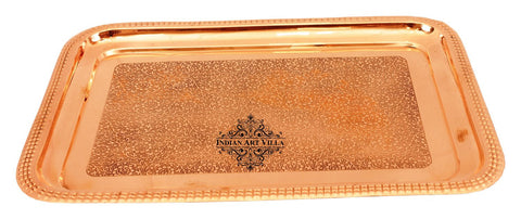 Pure Copper Designer Embossed Rectangular Serving Tray