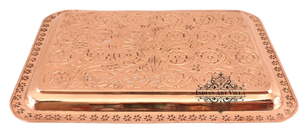 Copper Engraved Flower Design Rectangular Tray