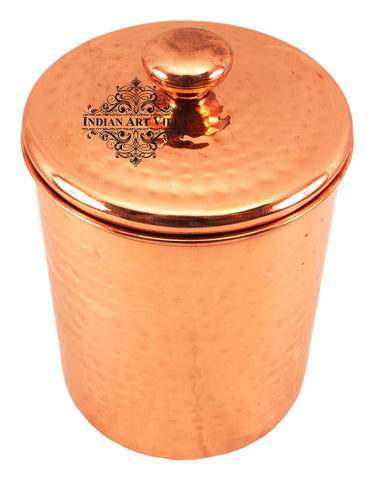 Steel with Copper Plated Hammered Storage Box with Lid