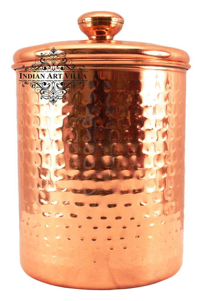 Steel with Copper Plated Hammered Storage Box with Lid 2150 ML