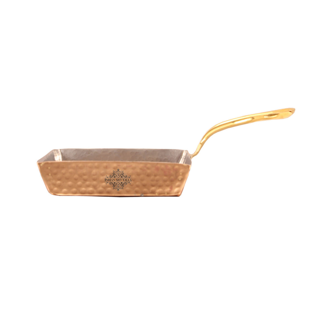 Copper Hammered Design Square Pan with Inside Tin Lining 450 ML
