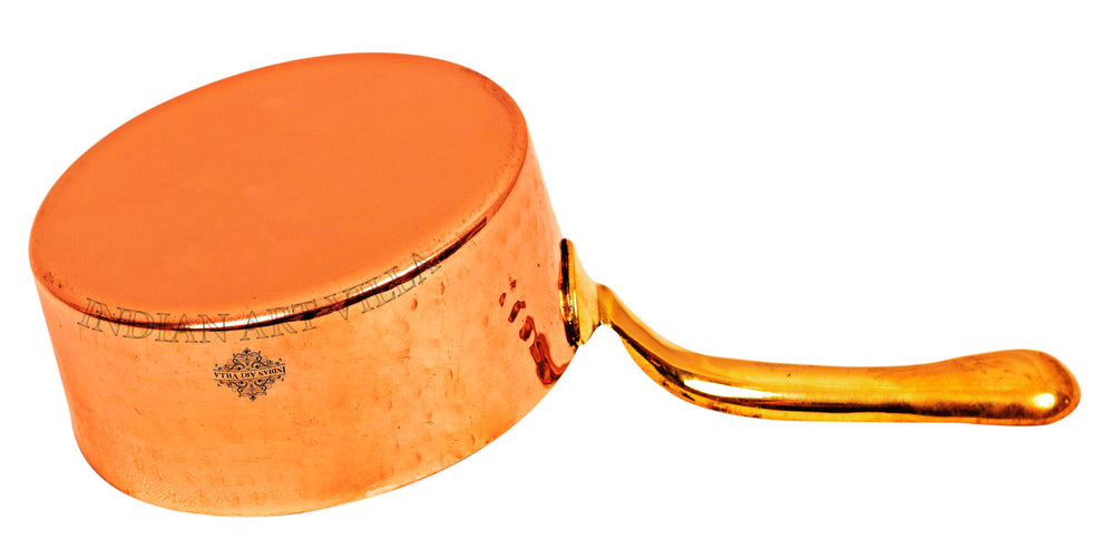 Copper Hammered Pot Pan with Inside Tin Lining with Brass Handle