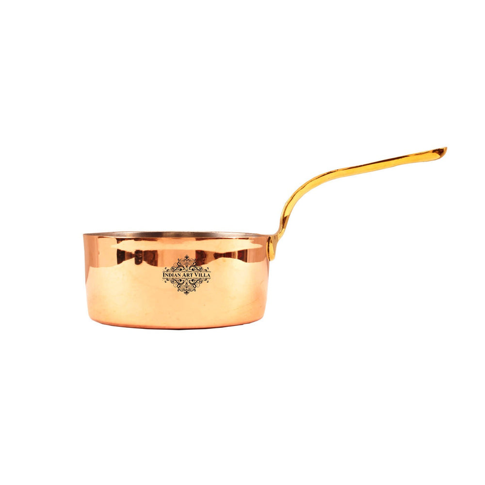Copper Plain Pot Pan with Inside Tin Lining with Brass Handle